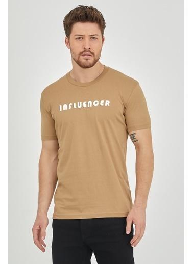 XHAN Vizon Kabartma Baskılı T-Shirt 1Kxe1-44622-29 Vizon